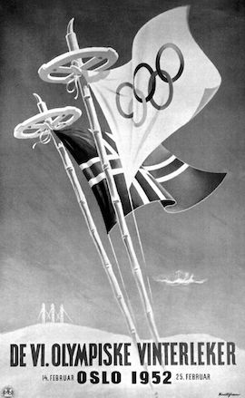 Affiche officielle des Jeux d'hiver d'Oslo 1952 - Exploraré - Tirée du livre officiel : VI Olympic Winter Games Oslo 1952