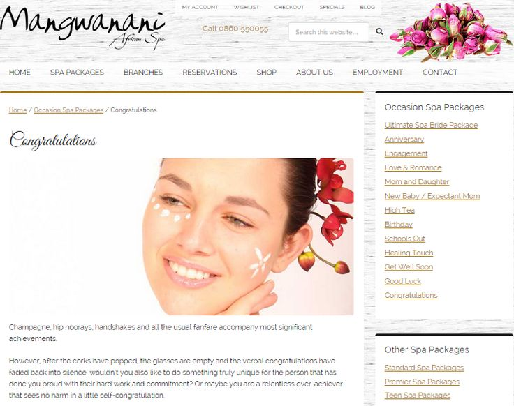 Congratulations Package; Web page to promote Special Event Celebration package for Mangwanani African Day Spa (South Africa) Need similar (or other copywriting/web content) work done? Contact me - darrell@wordtiffie.co.za #wordtiffie