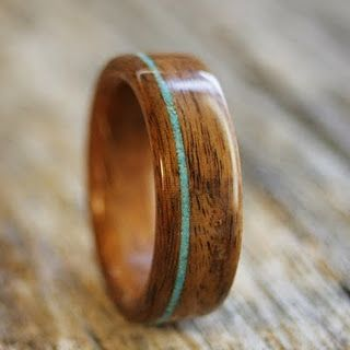 wood ring with turquoise inlay by Stoutwoodworks