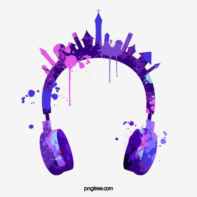 Purple Paint Splashing Headphones Headset Head Mounted Color Png Transparent Clipart Image And Psd File For Free Download Purple Paint Watercolor Splash Android Phone Wallpaper