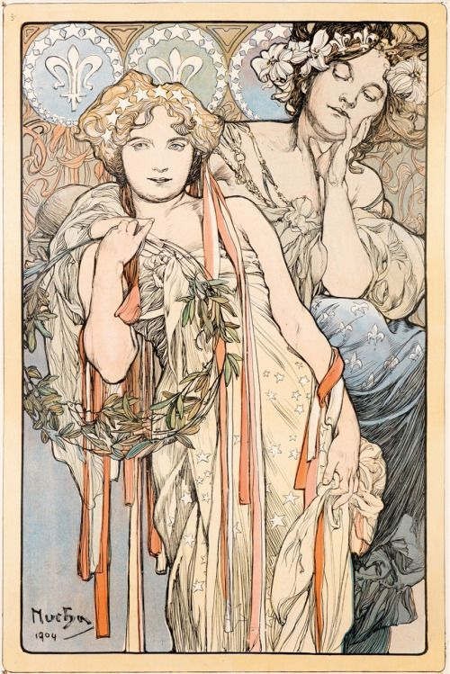 "New York. Cover for the New York Daily News by Alfons Mucha, Sunday, April 3, 1904. The Daily News celebrating Mr. Muchas move to New York City, calling him- ""The Greatest Decorative artist in the World""."