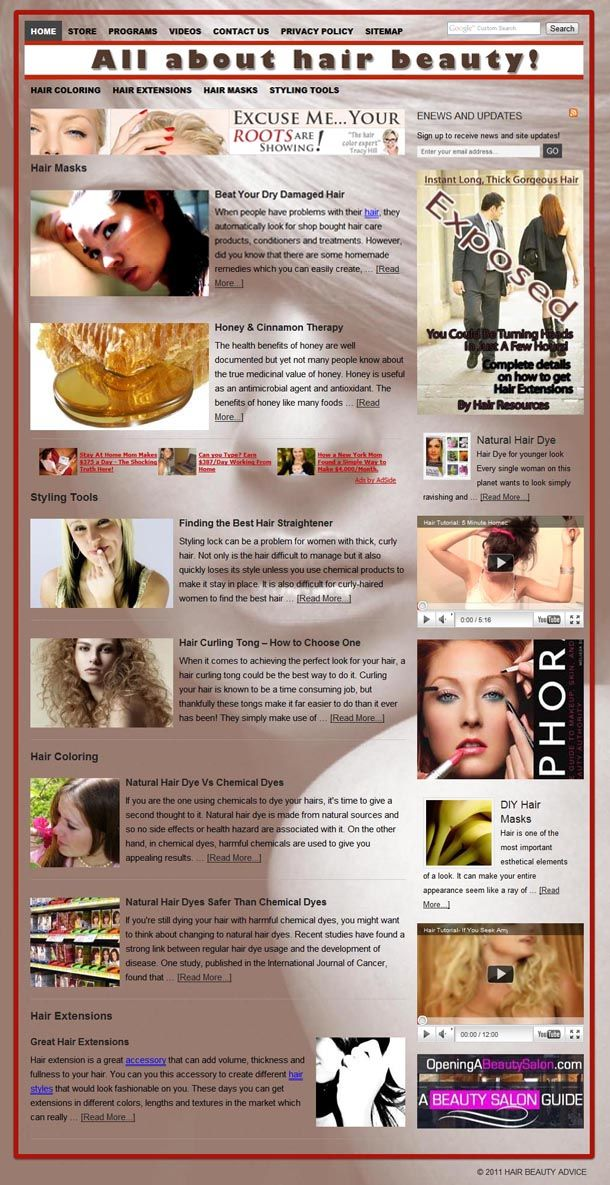 Hair Beauty website for sale! Another authority website with gorgeous DESIGN ! Really beautiful and warm graphics, the site is perfect as it is but it would also suit any beauty related business, or salon etc. As usual plenty of properly subdivided content and advertisement which do not overwhelm the visitor.