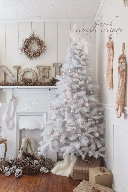 Pastel Christmas..white christmas trees don't look good in every setting...but this one does with a white..neutral shabby chic background...kutos!