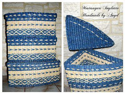 Mestesuguri Impletite - Handmade by Angel: Set cutii albastre impletite pentru depozitare