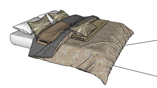 bed, bed furniture,, tempat tidur, pillow - 3D Warehouse