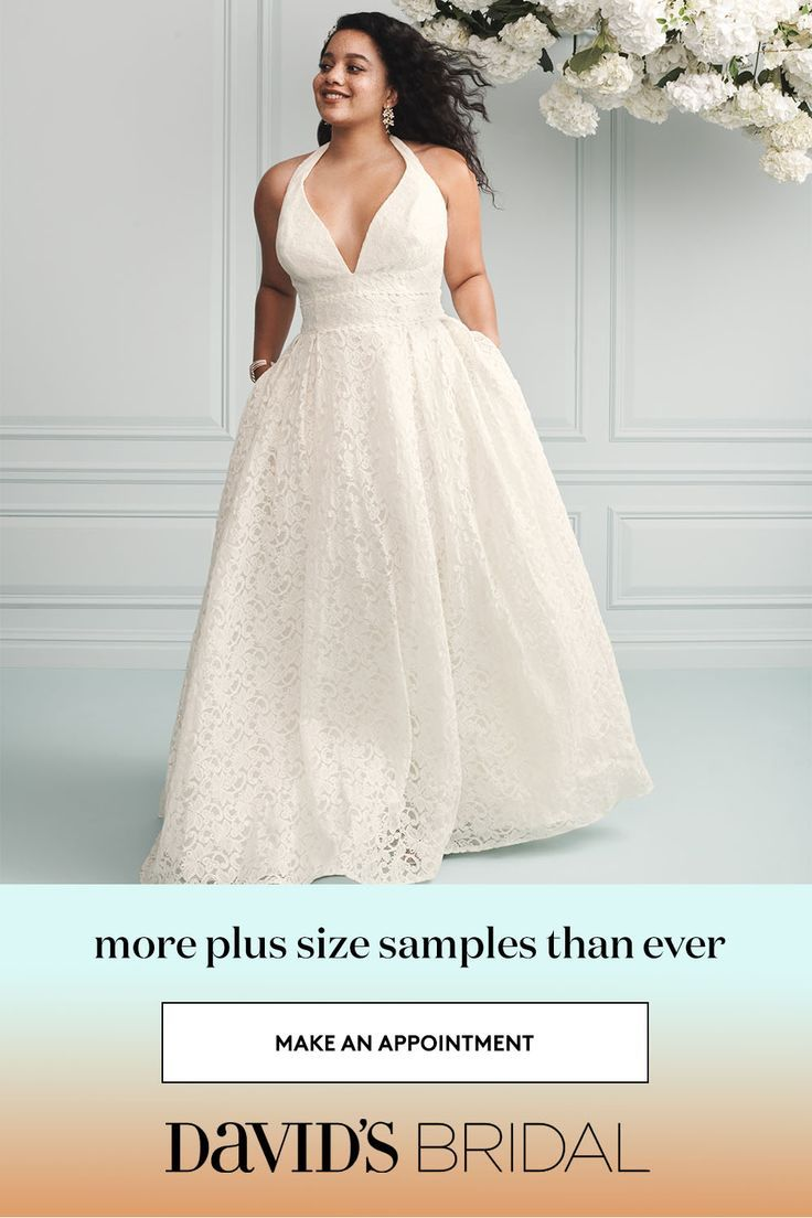 David's Bridal carries more samples in sizes 18–318W than ever, so ...