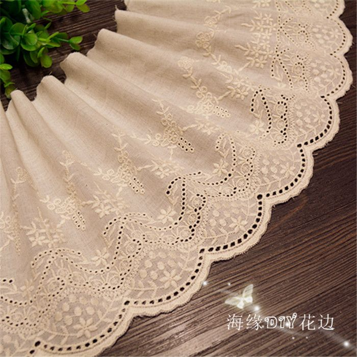 5Yards/lot Width 19cm Beige 100% cotton embroidered lace fabrics, Women's clothing diy lace trim, Free Shipping RS478-in Lace from Home & Garden on Aliexpress.com | Alibaba Group