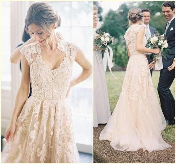 Wholesale 2015 Wedding Dresses - Buy Charming 2015 A Line V Neck Garden Wedding Dresses Lace Tulle Sleeveless Sweep Train Bridal Gowns Vestidos De Novia Custom Made, $150.27 | DHgate.com
