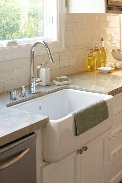 Suzie: Amoroso Design - Beautiful kitchen with white porcelain farmhouse sink, white flat panel ...