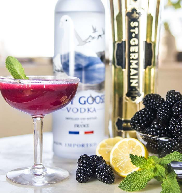 The Amelia: Blackberry, Grey Goose Vodka, St. Germain Liqueur and Lemon Cocktail Recipe from Nordstrom; photo by Jeff Powell. @greygoose