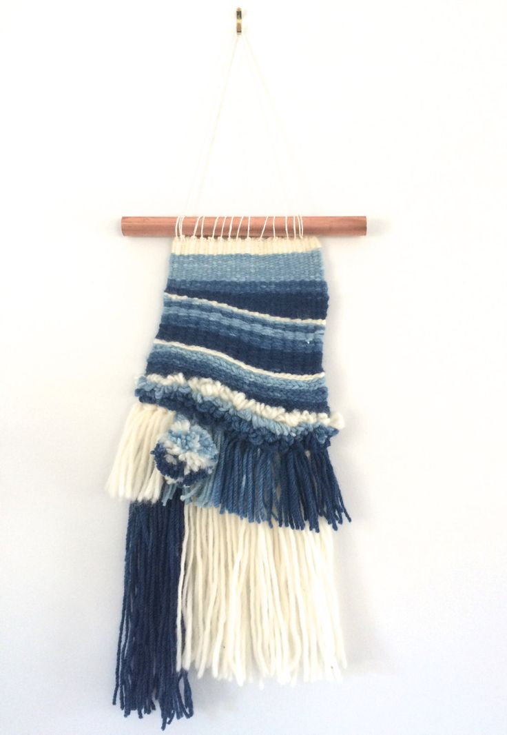 Blue ombre woven wall hanging using hand dyed merino wool and hung on copper pipe by waffleandweave on Etsy