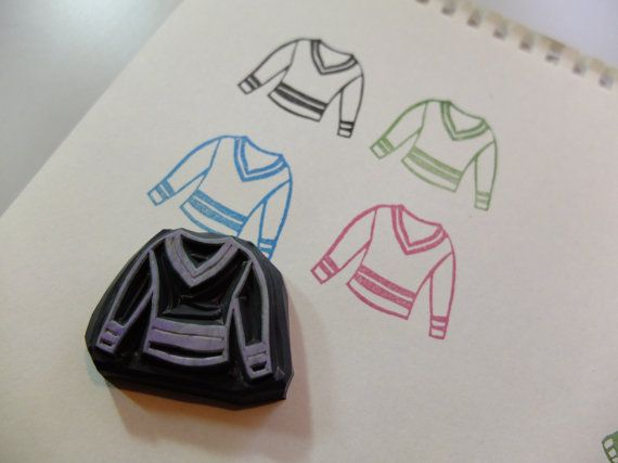 V neck sweater. Hand carved rubber stamp by HandCarvedStamps