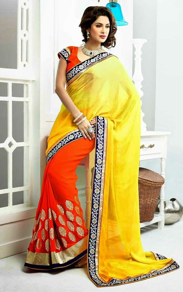 YELLOW & ORANGE FAUX GEORGETTE LATEST SAREE - SKY 1006