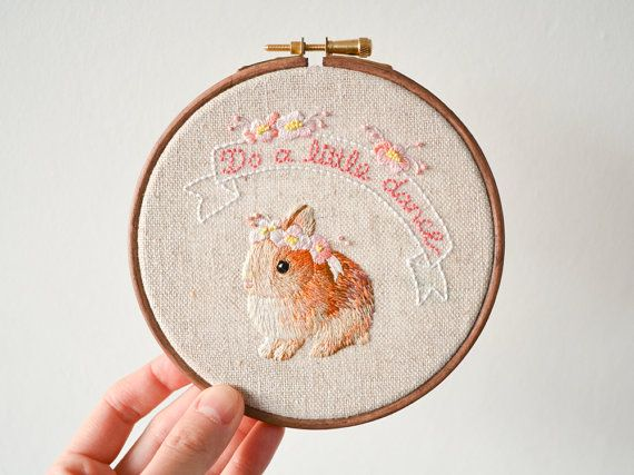 Do a little dance with this sweet bunny :) 100% hand embroidered with love, this baby is ready to brighten up your wall. It will be a perfect gift