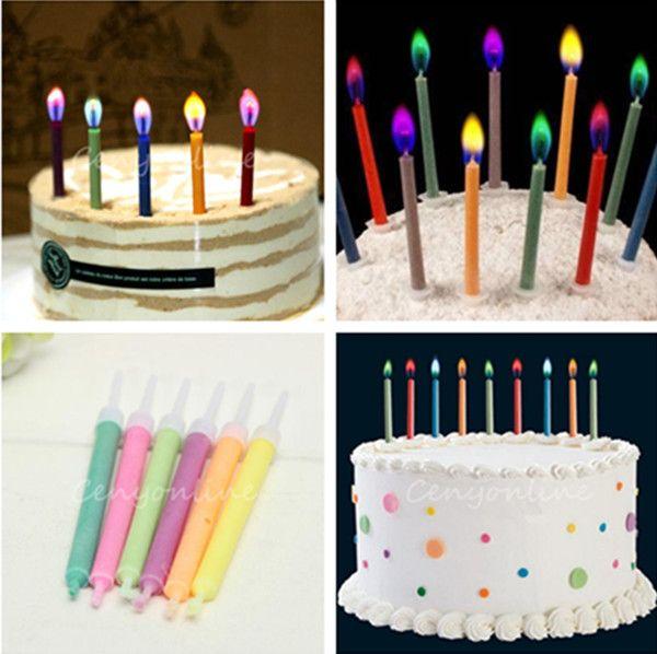 6 шт. торт ко дню рождения свечи ассорти цветные пламя сейф конус перезвон ну вечеринку декор купить на AliExpress