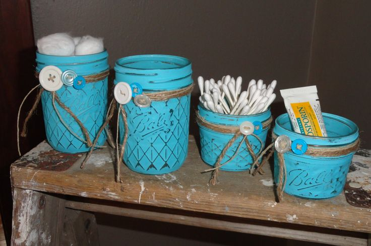 4 Piece Turquoise/Aqua Distressed Mason Baby Jar Nursery Set w/ Jute Twine-Buttons, Baby Shower Gift, Country Bathroom Jars, Farmhouse Decor by DeesCountryCharms on Etsy