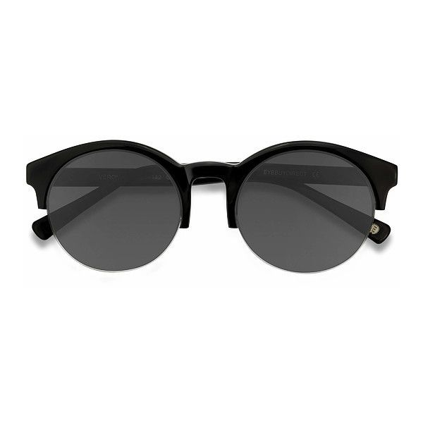 Women's Verona - Black browline horn round - 16325 Rx Sunglasses ($39) ❤ liked on Polyvore featuring accessories, eyewear, sunglasses, round sunnies, rounded sunglasses, summer glasses, round eyewear and retro style sunglasses