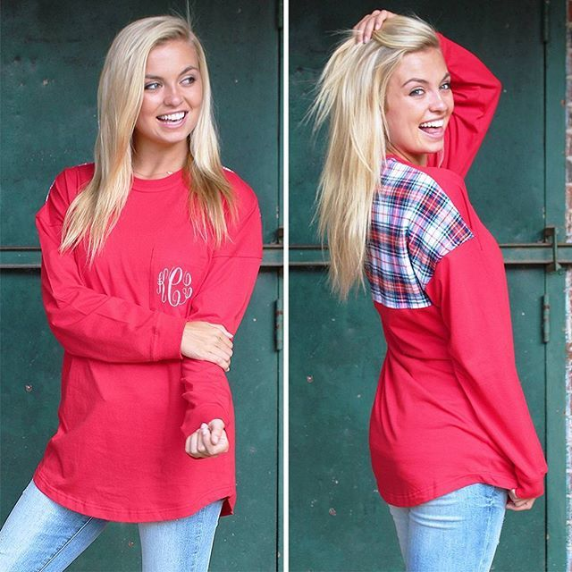 As if you didn't need another reason to get one of these Monogrammed Plaid Jerseys... they are ON SALE NOW! ❤️ Shop now (link in bio!) **FREE Blanket Scarf with $75 purchase**