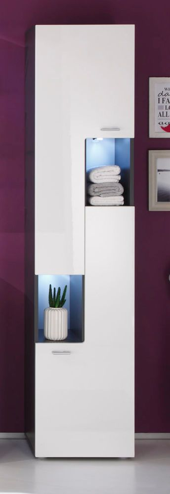 Badezimmer Hochschrank Hochglanz weiß und grau Badschrank Badmöbel Schrank Tetis  | eBay