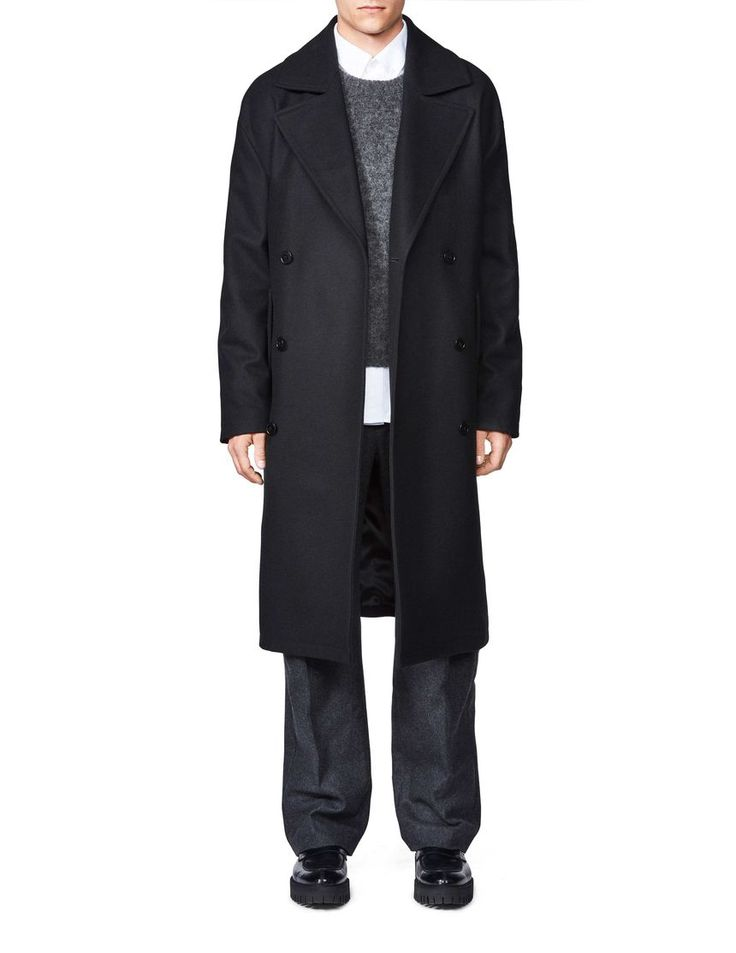 Diger coat-Men's classic long coat in wool-blend with melton structure. Concealed button fastening at front. Two flap pockets. Single back vent. Fully lined. Oversized fit.