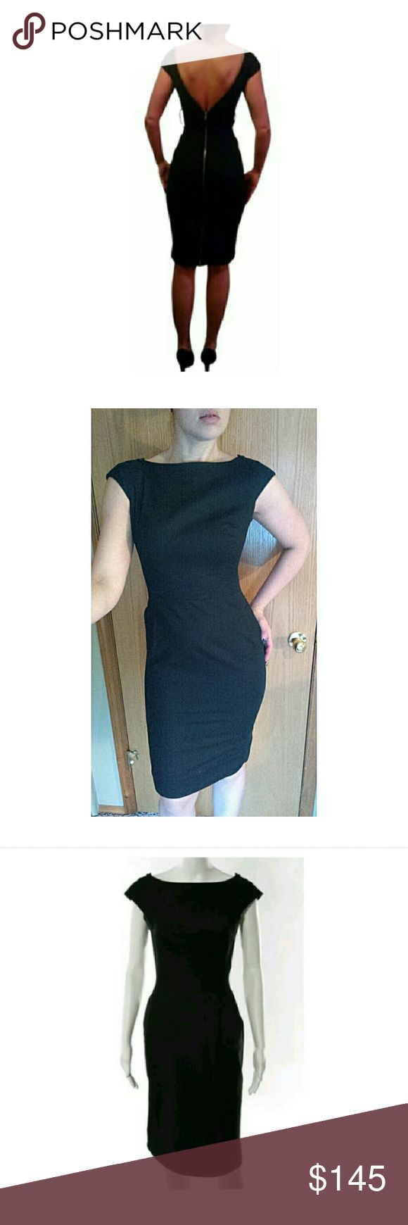 """Byron Lars Black Exposed Zipper Pencil Dress SZ 8 Beautiful Byron Lars black pencil dress. While the front says traditional classic, the back has a twist. A silver exposed Zipper runs from the hem all the way up to the shoulders. The effect is that when the zipper stops mid back, you can see the zipper teeth along the shoulders of the back. Belt loops at waist (doesn't come with belt). Hits at knee. Classic and sexy.  Excellent condition.  Size 8.  Measurements taken laying flat: Bust: 18""""…"""