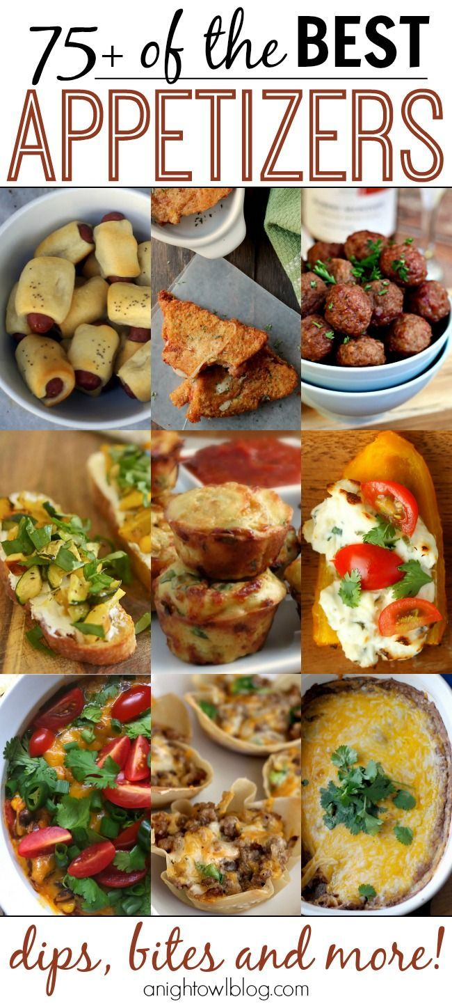 Here you'll find lots of recipe ideas for dips, bite-sized delectables, meatballs, twice-baked potatoes, and much more. One of these 75+ of  Best Appetizers is sure to a hit at your next party!