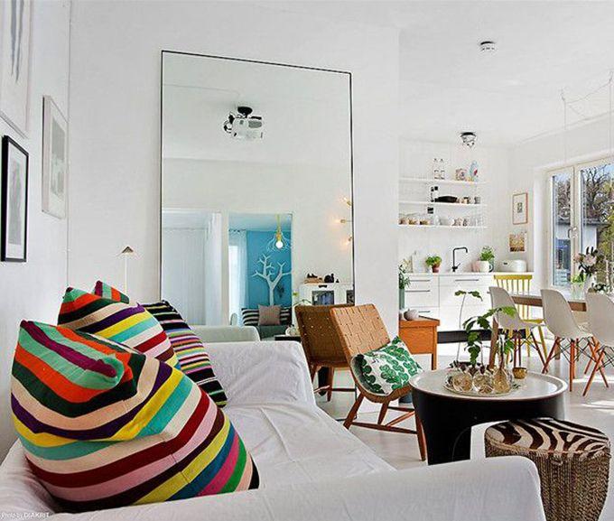 Espejos xl para decorar espacios pequeños. El truco perfecto para aportar mucha luminosidad y hacer que parezcan mucho más grandes.