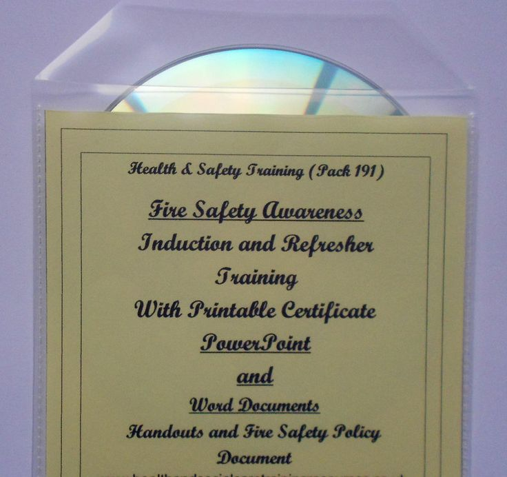 FIRE SAFETY AWARENESS Training Resource CD Health & Safety Induction & Refresher - PowerPoint presentation and Word Documents (printable from the CD). Includes printable Fire Safety Policy document and printable certificate of completion.