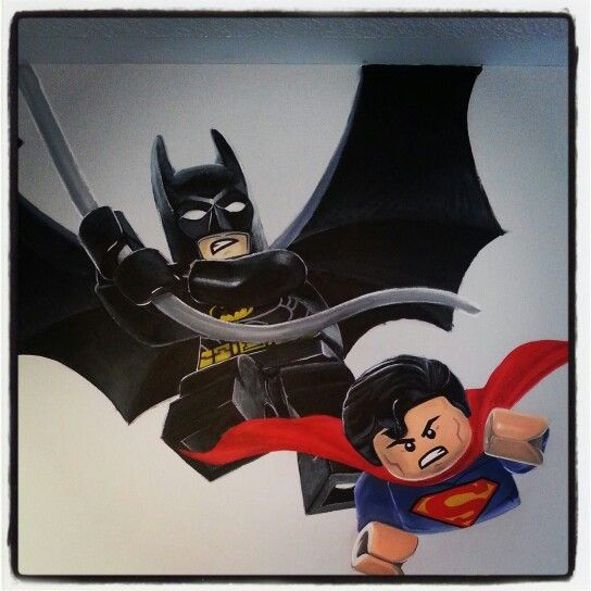 Lego wall mural batman superman painted in my son 39 s for Batman bedroom wall mural