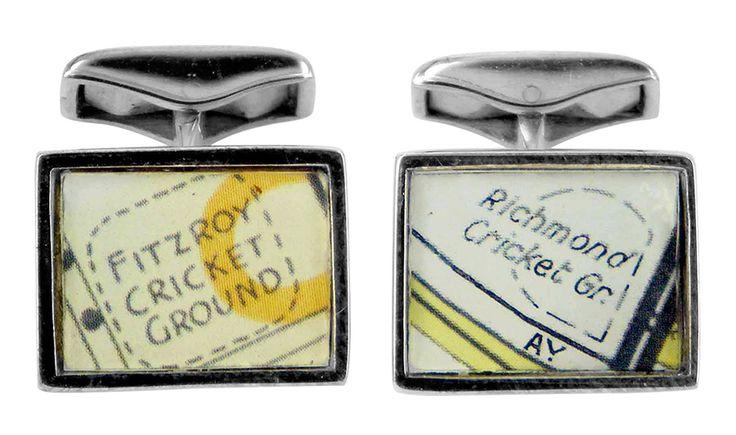 Richmond & Fitzroy cricket ground vintage street directory cufflink