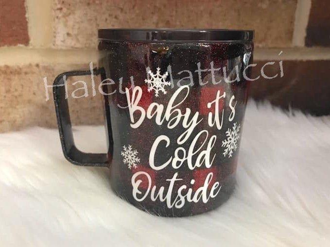 Christmas Nutcracker Glitter Ceramic Hogg Tumbler Coffee Cup by Black Sheep Creationss