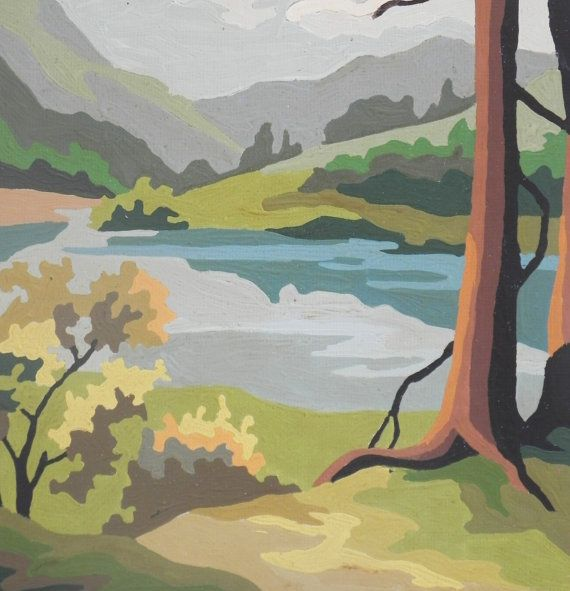 Paint By Number Landscape with Lake, Trees, Mountains and Sky