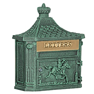 Victorian Mailbox Surface Mounted Green