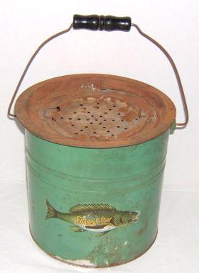 antique bait buckets   226: Antique Fishing Bait Bucket Fall's City