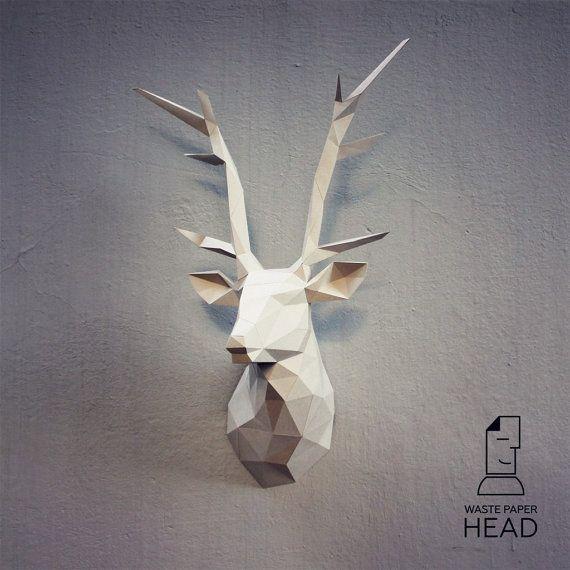 Plantilla de papel cabeza venado 1-impresión por WastePaperHead