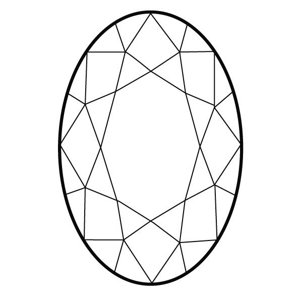 Line Drawing Jewel : Oval cut this is an even perfectly symmetrical design