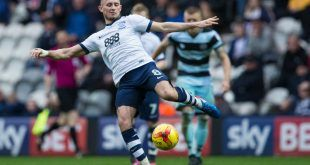 February 25th 2017, Preston, Lancashire, England; Skybet Championship football, Preston North End versus Queens Park Rangers; Preston North End's Alan Browne kicks the ball clear (Photo by Tim Williams/Action Plus via Getty Images)