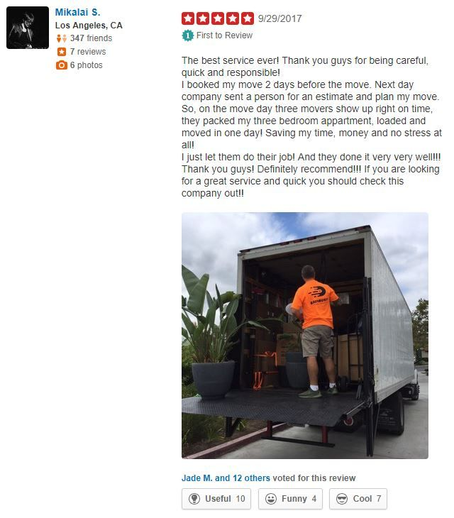 Some Positive Deedback From Our Thankful Client Movingcompany Moving Movers Truck Relocation Losangel Moving Company Echo Park Los Angeles Yelp Reviews