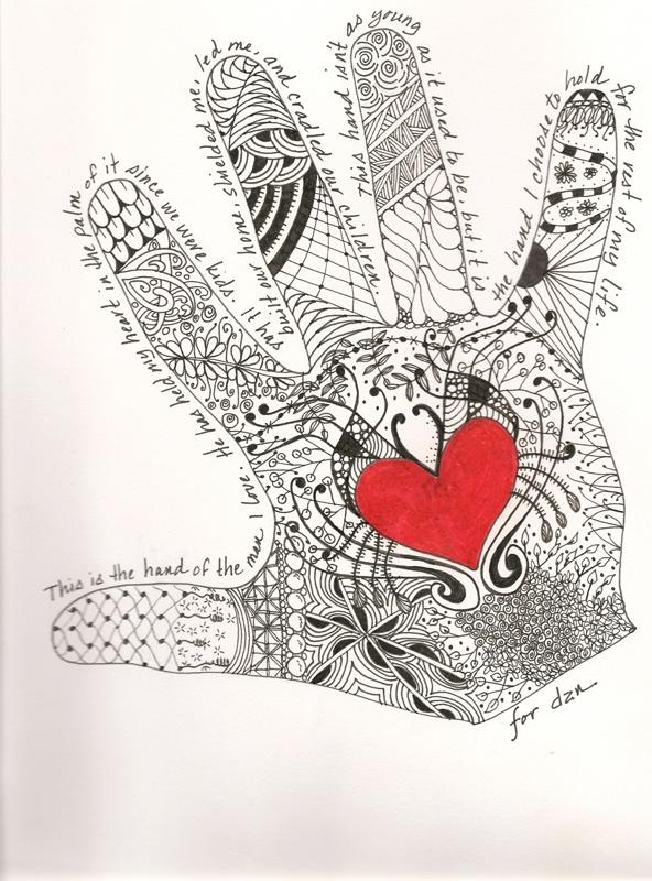 Zentangle hand, husband/I don't know the artist but this is wonderful