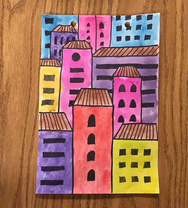 Ask students to fill their paper with overlapping buildings and you can get some great compositions. Art Projects for Kids #perspective