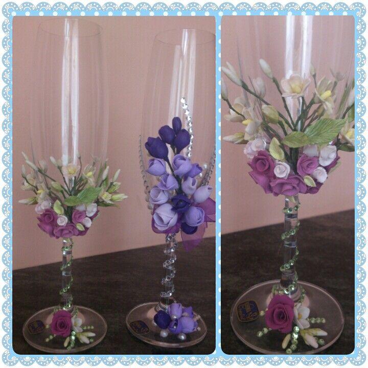 Copas de cristal decoradas con porcelana fria.