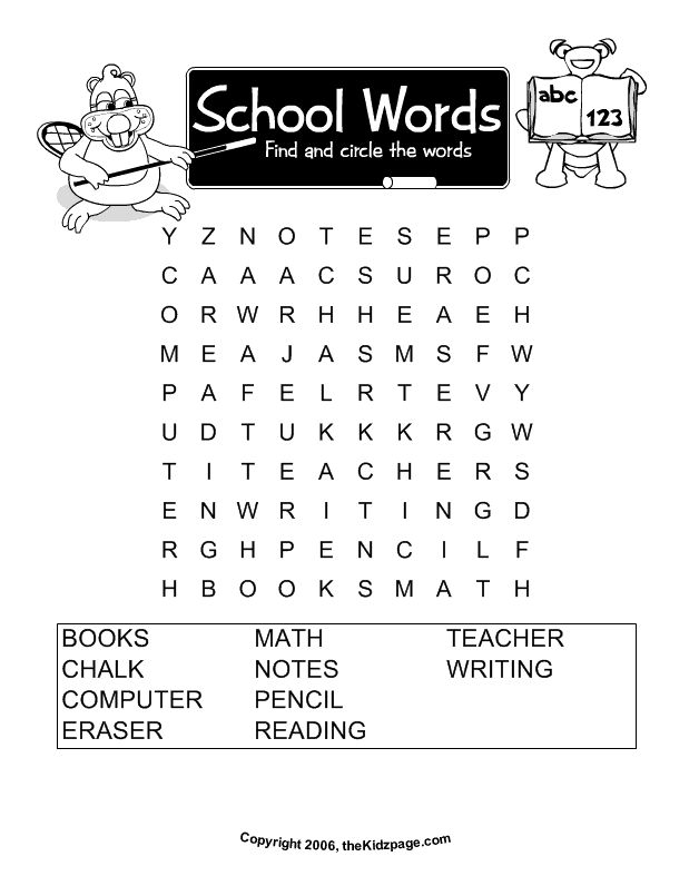 school words word search free printable learning activities for kids printable colouring sheets - Free Printable Games For Kids