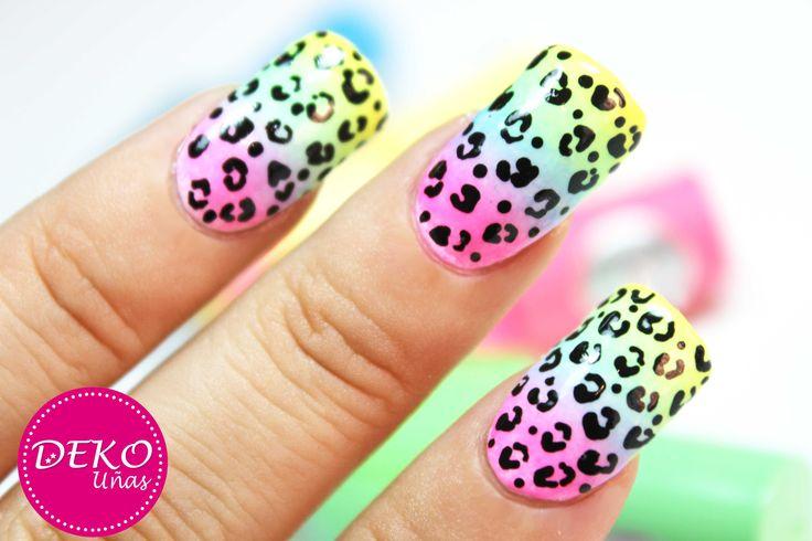 Nail art animal print leopard neon