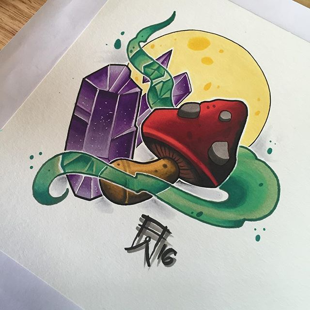 Colored this #mushroom and #crystal design I drew up. Love things like this. For availability or questions email aaronwaker429@gmail.com. @copicmarker @prismacolor #asheville #ashevillenc #ashevilleartist #ashevilletattoo #nc #nctattoos #northcarolina #blueridgeparkway #blueridgemountains #psychedelic #psilocybin #witchy #shroom #copicmarkers #copic #prisma #prismacolor #prismacolormarkers #tattoo #neotradsub #neotraditionaltattoo #aaronwalker