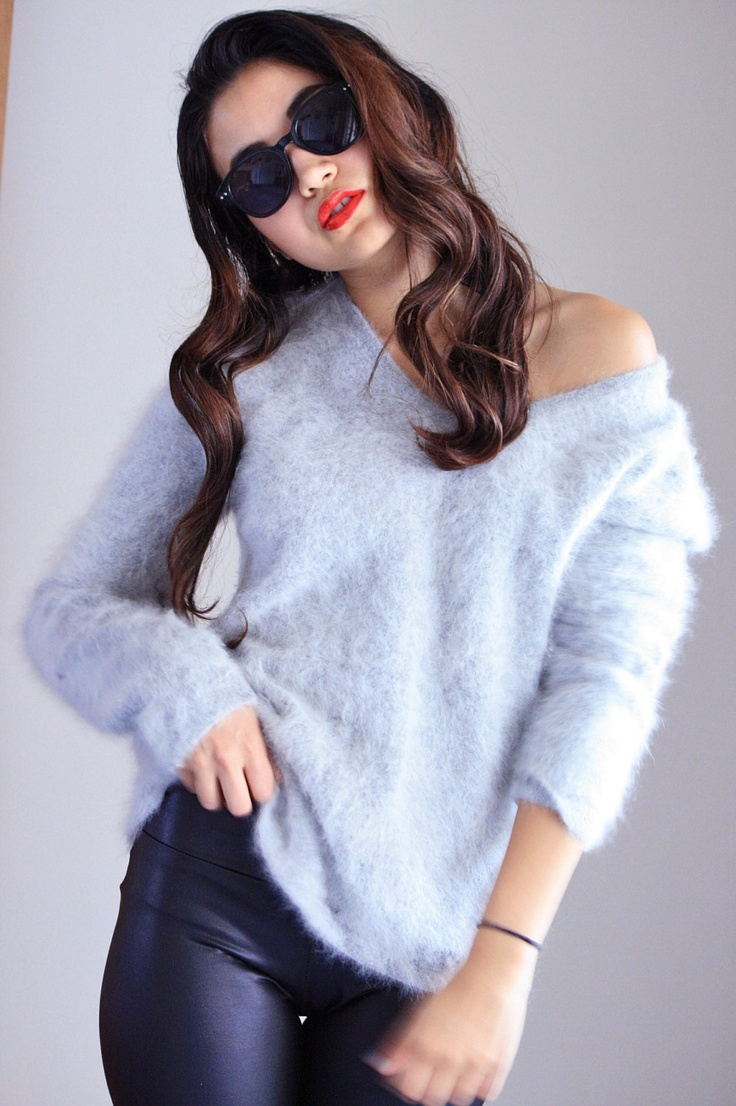Rabbit Fur Sweater. Gray Oversized Angora Sweater. Oversized Knit ...