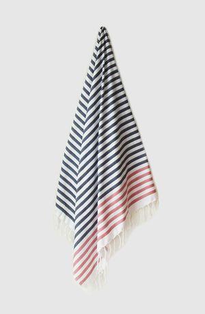 Sheker Candy Stripe Turkish Towel Indigo and Rose - $49 AUD