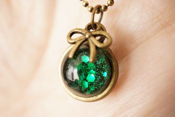 Holographic nail polish green necklace glass by SylvieJewellery, $10.00