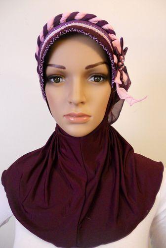 Hijab scarf Bonnet Style slip on one piece purple buy it on ebay