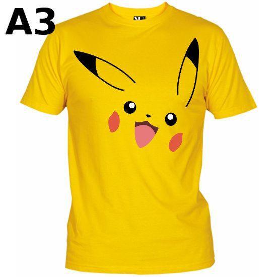 """T-shirt Jaune pour Enfant et Homme (différentes tailles disponibles), logo """"Pikachu"""" - Format d'impression au choix: A3 ou A4"""