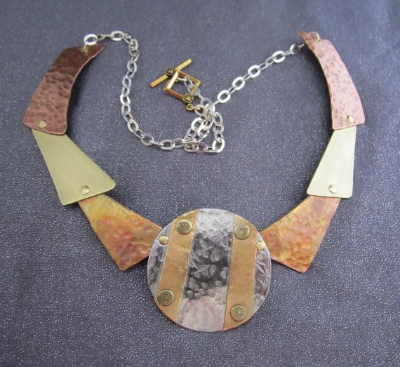 Mixed Metalwork Riveted Necklace Abstract by FirednWiredJewelry on etsy